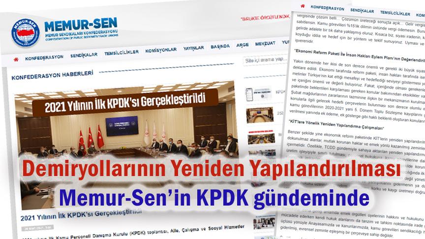 Demiryollarının Yeniden Yapılandırılması, Memur-Sen'in KPDK gündeminde