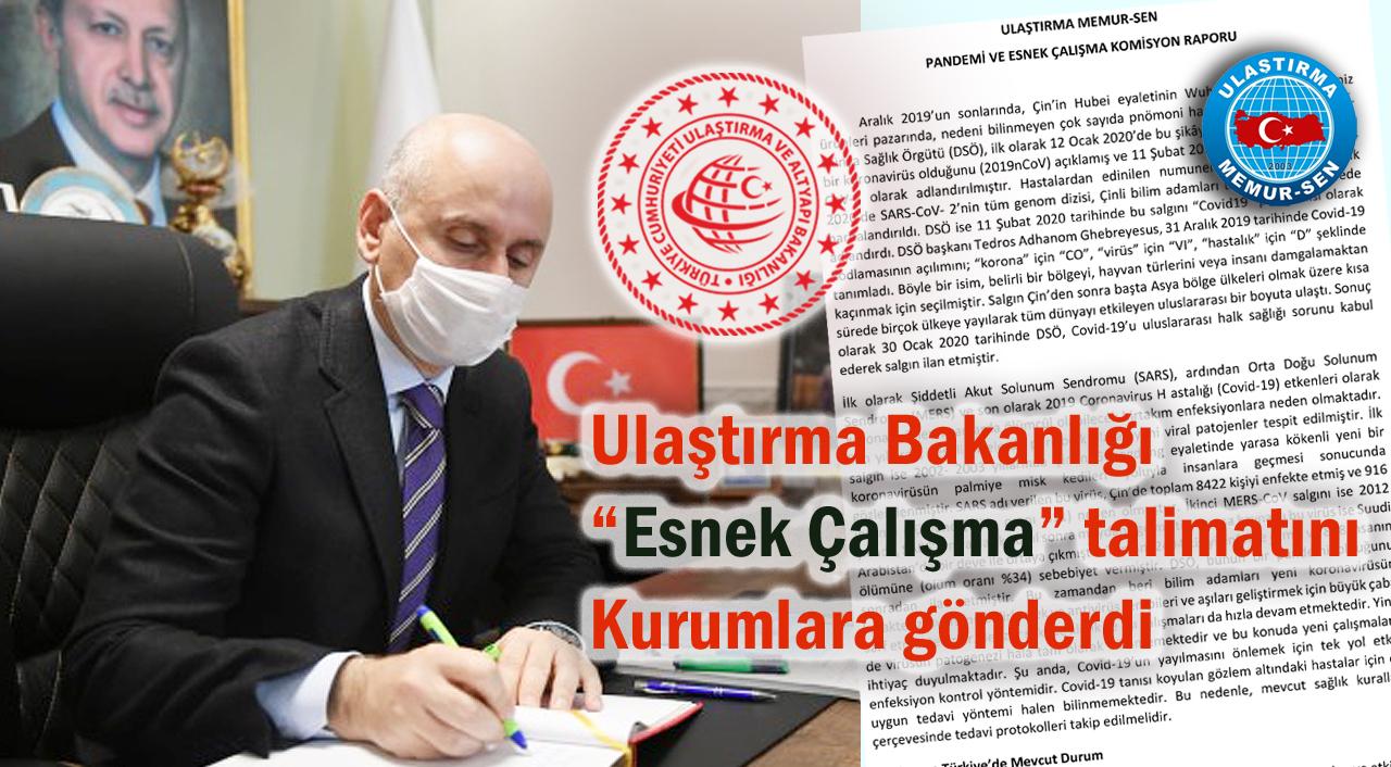 Ulaştırma Bakanlığı Esnek Çalışma talimatını kurumlara gönderdi