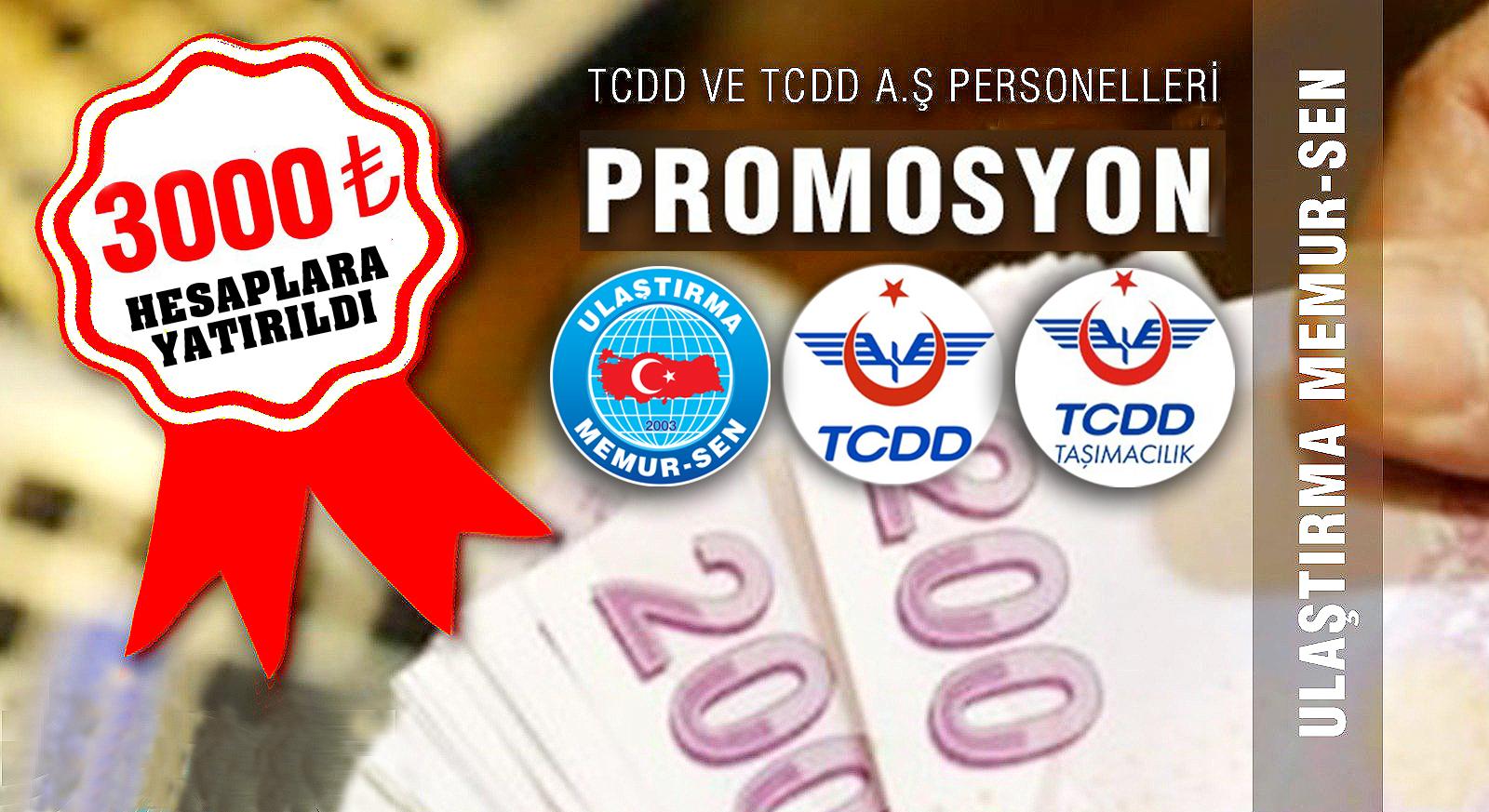 TCDD ve TCDD Taşımacılık A.Ş. Promosyon paraları hesaplara yatırıldı