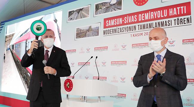 Samsun Sivas Demiryolu hattı, Cumhurbaşkanı Erdoğan tarafından hizmete açıldı